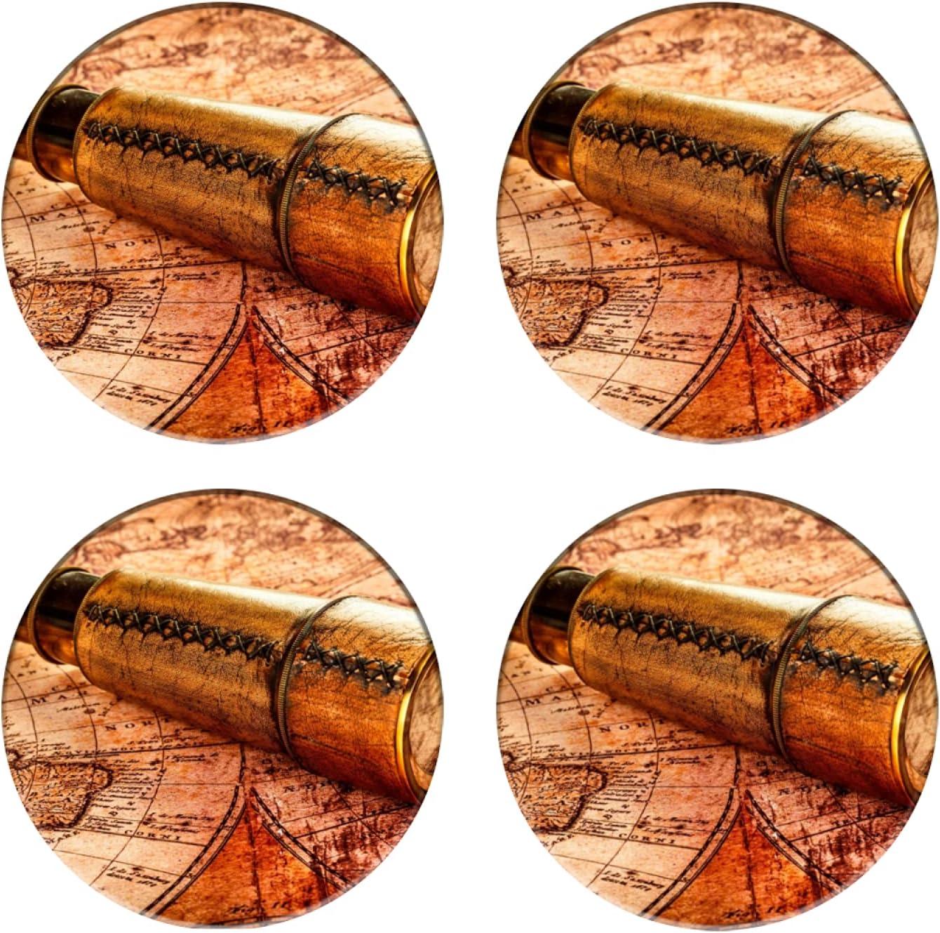 Posavasos para Bebidas,Teleskop auf altem Schatz Der antiken Weinlese Weltkarte,Manteles Individuales Redondos Reutilizables para la decoración de la Barra de Cocina