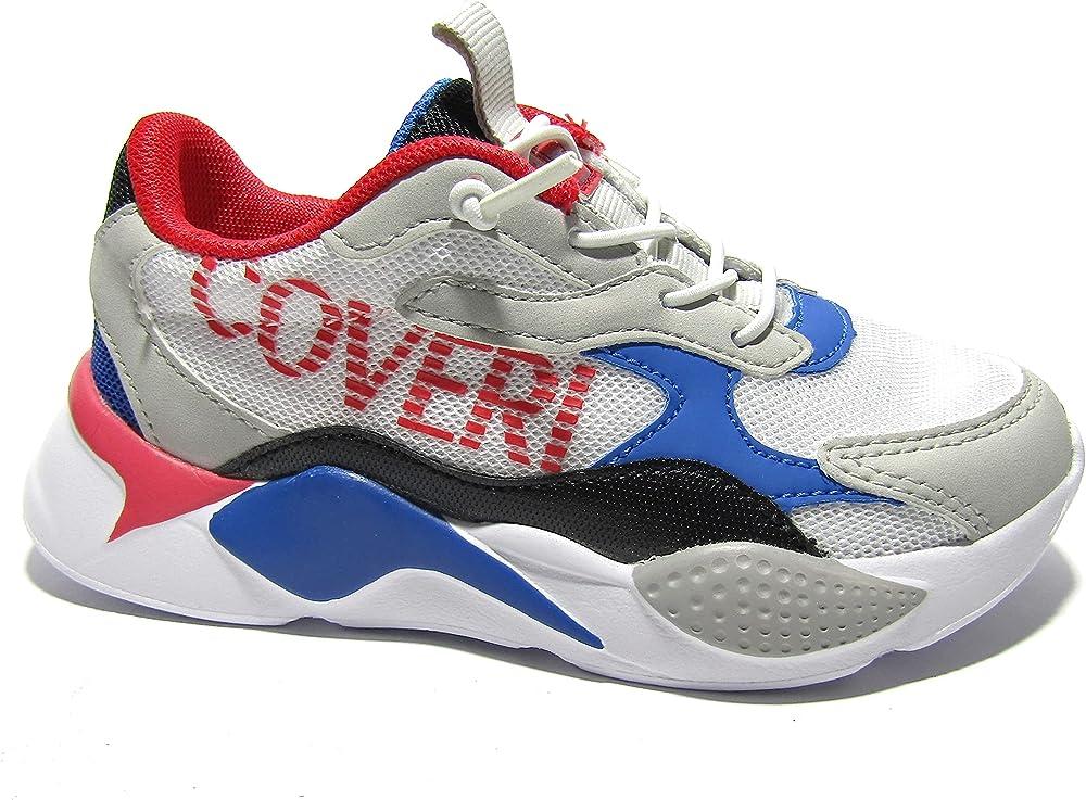 Enrico coveri,  scarpe sneakers da bambino/ragazzo, in eco pelle e tessuto