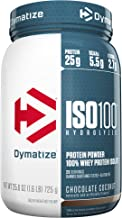 Dymatize ISO100 Hydrolyzed Protein Powder, 100% Whey Isolate Protein, 25g of Protein, 5.5g BCAAs, Gluten Free, Fast Absorbing, Easy Digesting, Chocolate Coconut, 1.6 Pound