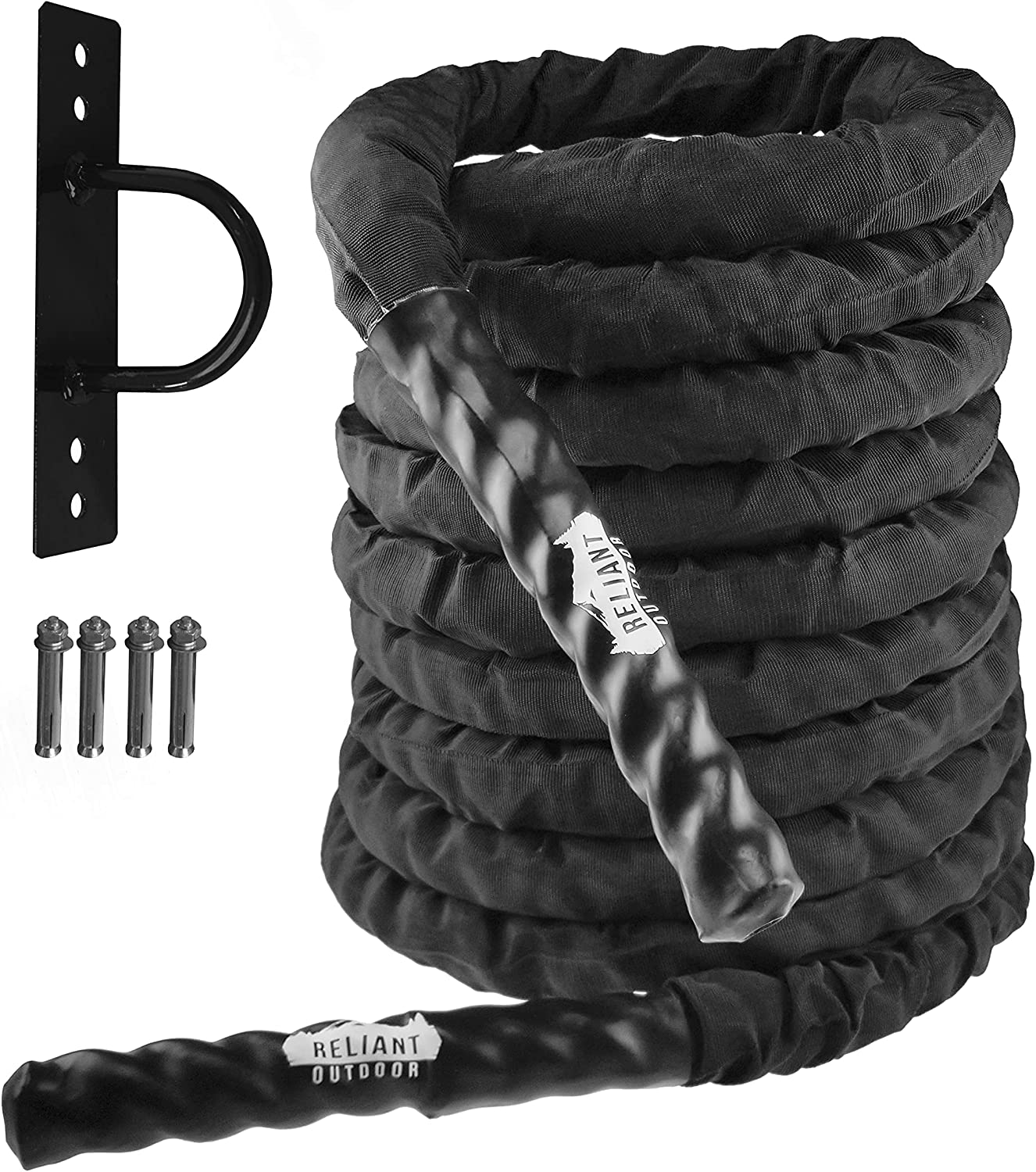 Reliant Outdoor Heavy Duty Battle Rope, Full Body Exercise Equipment for Home Gym, Crossfit Training and Outdoor Workout, 30, 40, 50 Feet Length