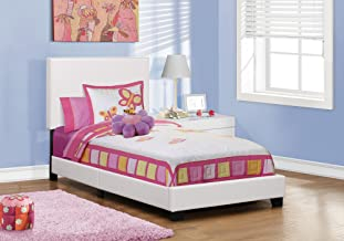 Monarch specialties , Bed, Leather-Look, White, Twin