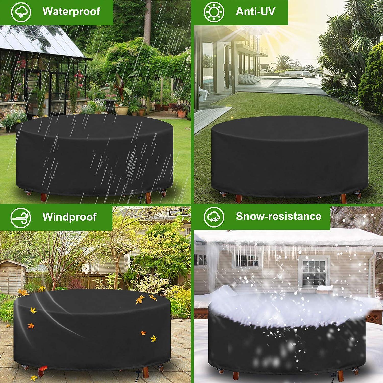 YuYo Housse pour Table de Jardin Bache Table de Jardin Ronde Imperm/éable Anti-UV Oxford Robuste Housse de Protection Jardin /Ø190X80CM