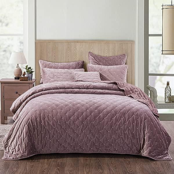 Tache Solid Purple Mauve Velvety Dreams Luxury Velveteen Super Soft Plush Diamond Tufted Quilted Bedspread 3 Piece Set Queen