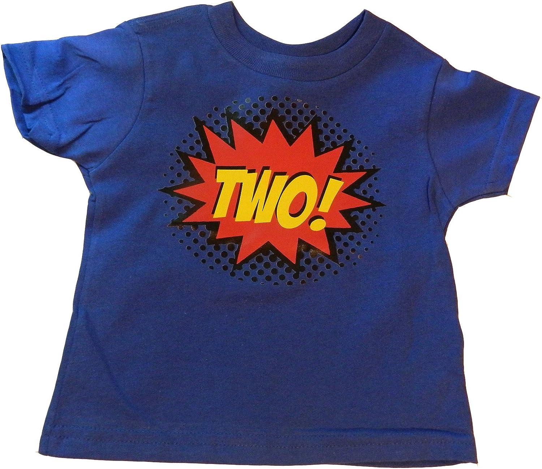 Custom Kingdom Boys Two SuperheroComic Book Hero 2nd Birthday Boy Shirt 2 Years Old Colorful Second Birthday T-Shirt