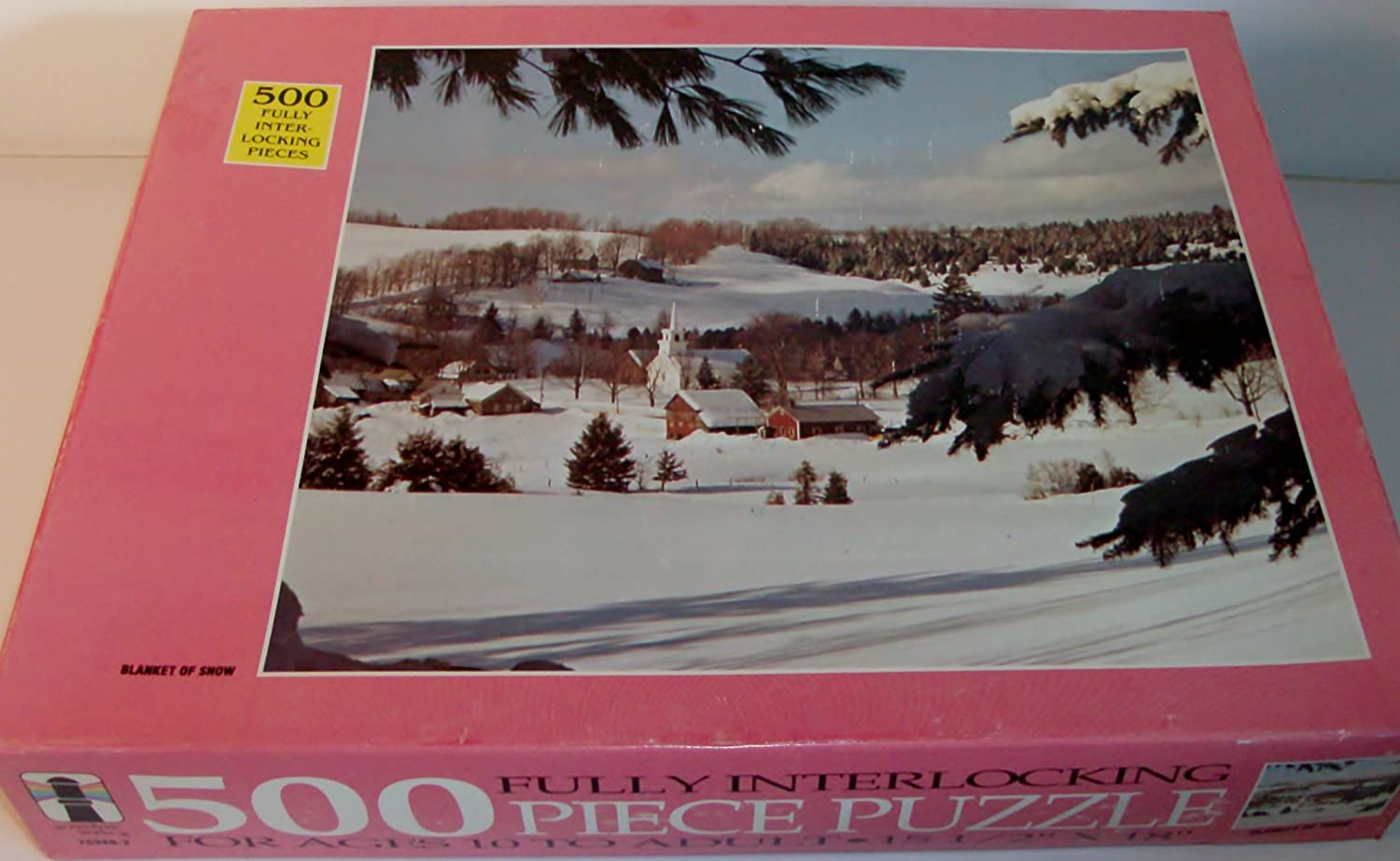 Vintage Blanket of Snow with Church 500 piece puzzle by Rainbow Works