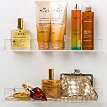'Invisible' Bathroom Shelf ~With ENDS~ Wall Mounted [2 Pack] 15 inch Clear Acrylic Shelves by Pretty Display. (All Screw Fittings Included) Extra Strong & Easy to Wall Mount