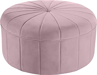 Meridian Furniture Tao Collection Modern | Contemporary Pink Velvet Upholstered Ottoman/Bench with Channel Tufted Design, Solid Wood Frame, 35