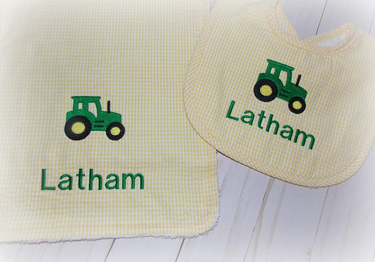 Baby boy tractor farm gingham personalized bib burp cloth