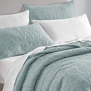 Sponsored Ad - SHALALA NEW YORK 3-Piece Heathered Reversible Quilt Set - Ultra Soft Cotton Blend - Pre-Washed Geometric Co...