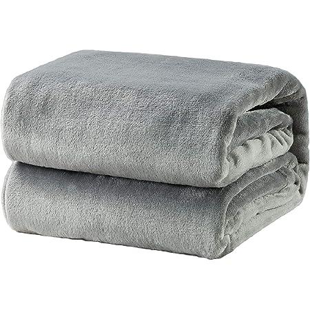 Bedsure 母の日 夏 冷房 毛布 ブランケット シングル もうふ フランネル グレー フリース 洗える マイクロファイバー 140x200cm あったかい オールシーズン 暖かい おしゃれ 軽量 薄手