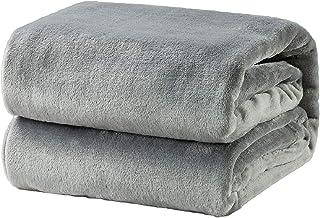 Bedsure 毛布 ブランケット シングル もうふ フランネル グレー フリース 洗える マイクロファイバー 140x200cm あったかい オールシーズン 暖かい おしゃれ 薄手 軽量