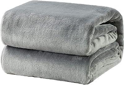 Bedsure 夏 冷房 毛布 ブランケット シングル もうふ フランネル グレー フリース 洗える マイクロファイバー 140x200cm あったかい オールシーズン 暖かい おしゃれ 軽量 薄手