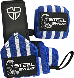 Steel Sweat Wrist Wraps - Best for Weight Lifting,  Powerlifting,  Gym and Crossfit Training - Heavy Duty Support - Size 14 18 24