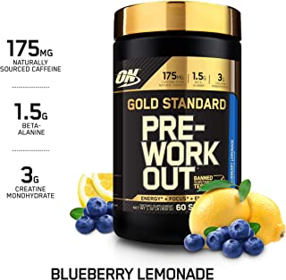 OPTIMUM NUTRITION GOLD STANDARD Pre-Workout with Creatine, Beta-Alanine, and Caffeine for Energy, Keto Friendly, Blueberry Lemonade, 60 Servings