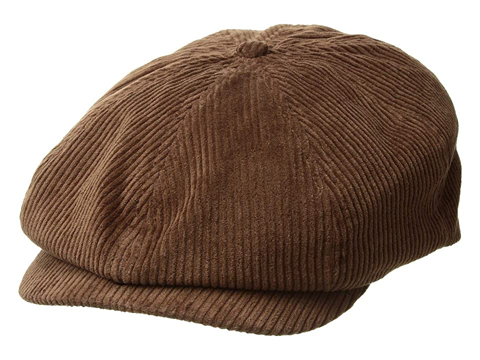 1940s Mens Hat Styles and History Brixton Brood Snap Cap Brown Cord Caps $39.00 AT vintagedancer.com