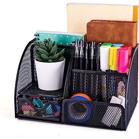 MDHAND Organiseur de bureau et accessoires en maille filet avec 6 compartiments + tiroir