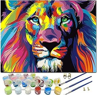Malen nach Zahlen 40x50cm Komplettset Löwe auf Holzrahmen Farben Pinsel Löwen