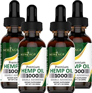 Hemp Oil Extract - 4 Pack - 1000 Natural Hemp - Grown & Made in USA - Natural Hemp Drops - Helps with Sleep, Skin & Hair.