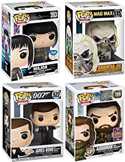 Funko Sci-Character Action Movie Pack 4 Figures Justice League Aquaman Exclusive Convention Motherbox + Mad Max Immortan Joe Fury Road + Vinyl James Bond 007 & FYE Major Ghost in Shell Bundle