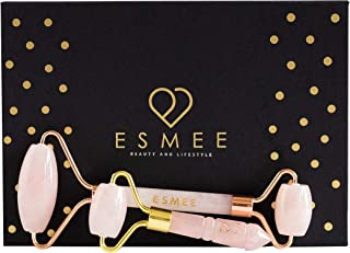 Esmee Beauty and Lifestyle Jade Roller and Mini Roller Facial Tool Set – Anti Aging Face Massager Supports Lymphatic Drainage and Reduces Eye Puffiness and Under-Eye Circles