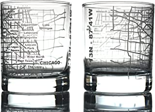 Greenline Goods Whiskey Glasses - 10 Oz Tumbler Gift Set for Chicago lovers, Etched with Chicago Map | Old Fashioned Rocks Glass - Set of 2