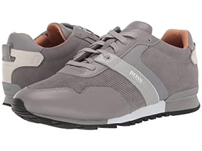 BOSS Hugo Boss Parkour Run Suede Sneakers by BOSS (Medium Grey) Men