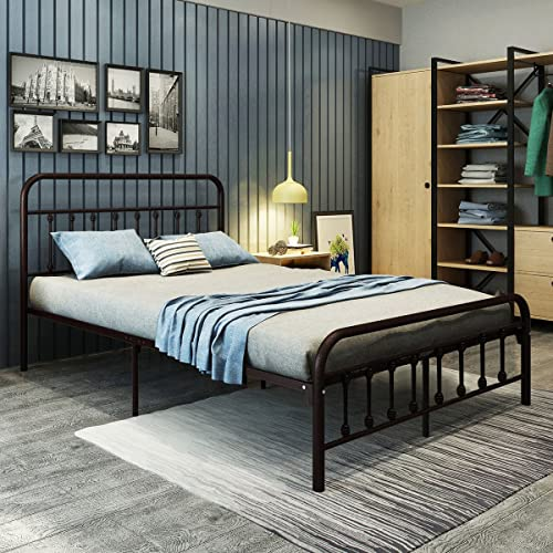 e9f6b012a9c DUMEE Metal Bed Frame Full Size Platform with Vintage Headboard and  Footboard Sturdy Metal Frame Premium