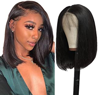Short Bob 13x4 Lace Front Wigs Human Hair Brazilian Virgin Straight Lace Frontal Wig for Black Women Pre Plucked Bleached ...