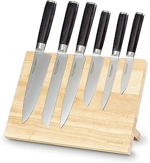 Echtwerk EW-DM-0388-3 Bloque Damascos magnéticos, Tabla de Cuchillos para cocinar, 7 Piezas, Stainless Steel