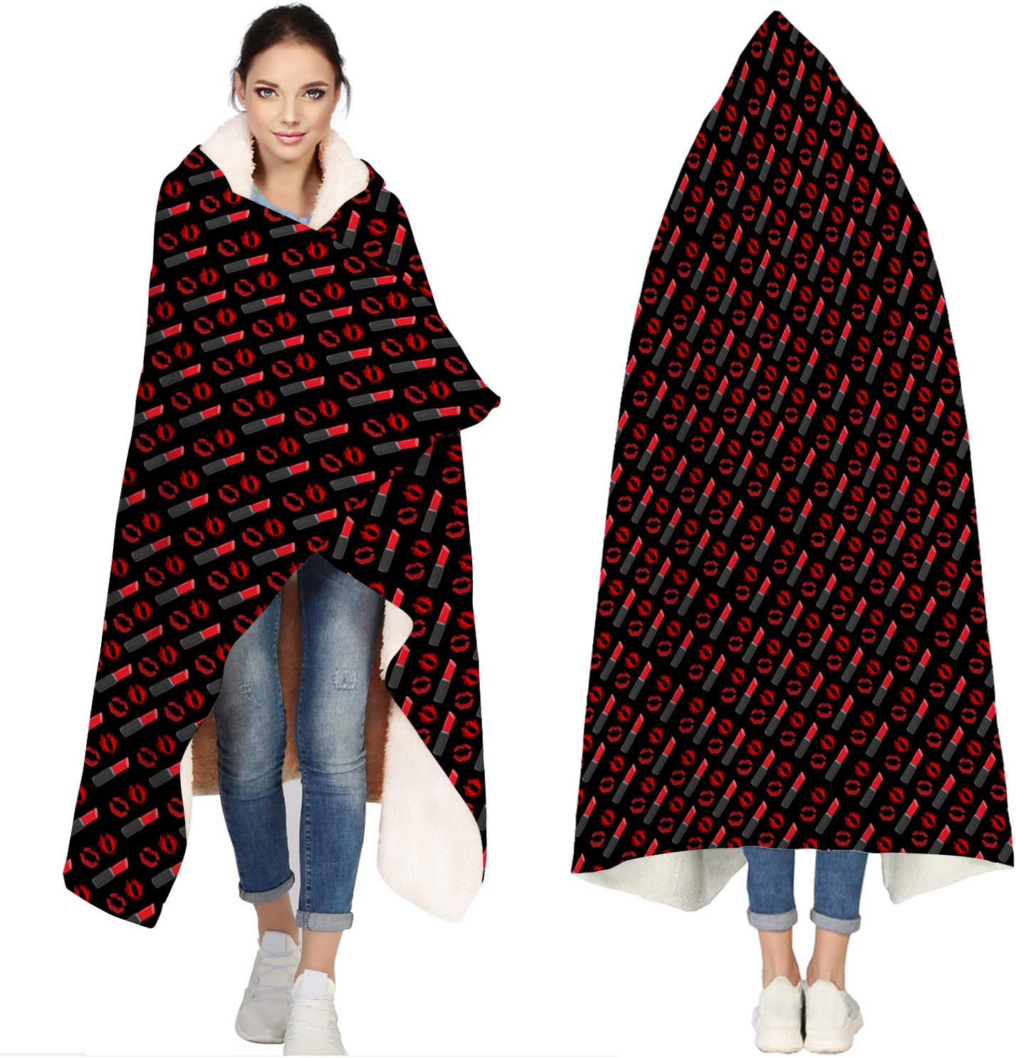 Seven Roses Hooded Blankets Sacramento Mall for Adults Lips - Lipsticks Ba Ranking TOP16 Sexy