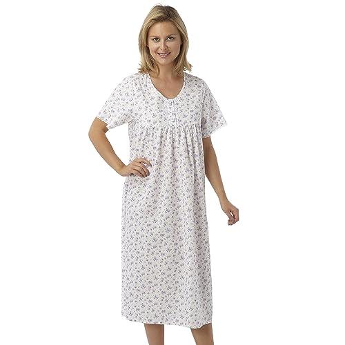 Marlon Ladies Short Sleeved Long Poly Cotton Nightdress. Blue 20cfd2df4