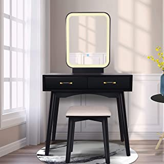 Vanity Table Set with Lighted LED Touch Screen Dimming Mirror,Makeup Dressing Table with 2 Sliding Drawers, 1 Cushioned St...