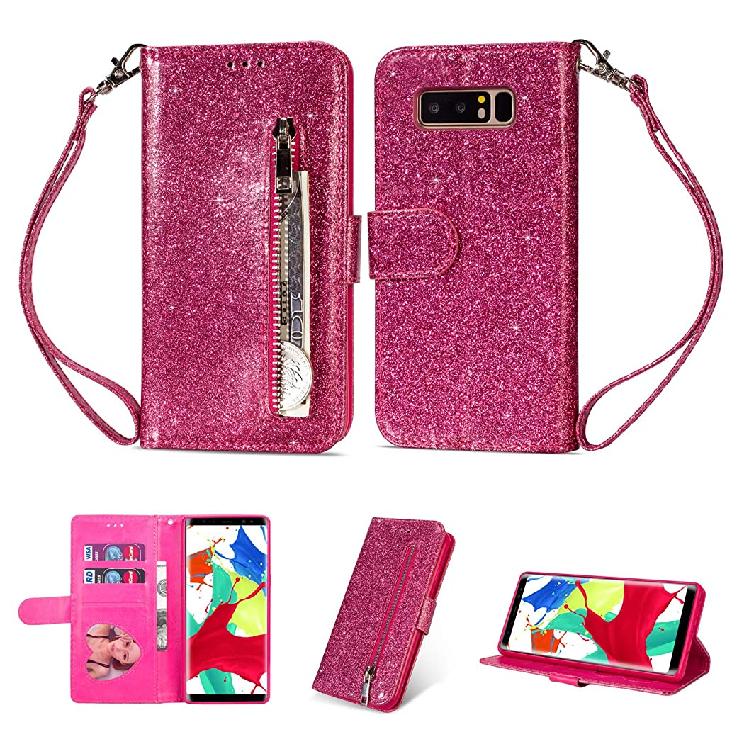 Zipper Wallet Case for Samsung Galaxy Note 8,Aoucase Luxury Glitter Sparkly Bling Pocket Purse Wrist Strap Soft TPU Stand Leather Case with Black Dual-use Stylus - Rose