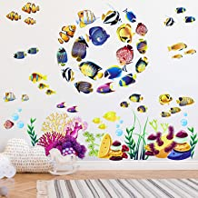 Under The Sea Fish Coral Reef Wall Stickers, 8 Set 13.4 x 10.2 in, Undersea Marine Life Vinyl Wall Decals Decoration, Sea ...