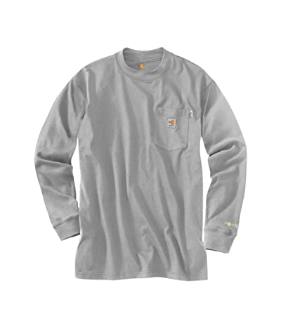 Carhartt Big Tall Flame-Resistant Force(r) Cotton Long Sleeve T-Shirt (Light Gray) Men