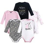 Hudson Baby Unisex Baby Cotton Long-Sleeve Bodysuits, Sparkle Unicorn, 3-6 Months