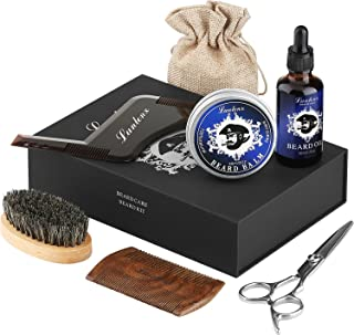 Beard Kit & luxury Beard Grooming Kit For Man 6 Pcs -Unscented Beard Oil Leave-in Conditioner,Beard Balm, Beard Comb,Beard Brush,Beard Scissors,Beard Shaping templat,Beard Growth & Shaping Gift set