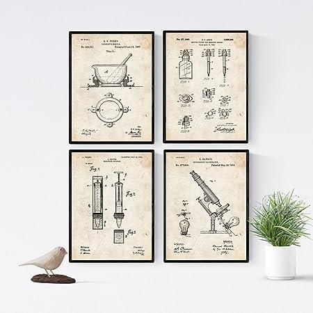 Nacnic Vintage - Pack de 4 Láminas con Patentes del Vater ...