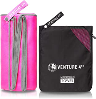 VENTURE 4TH Microfiber Travel Towel - Sports Towel: Quick Dry Towels for Gym, Beach, Camping, Backpacking, Swimming - Fast...