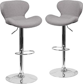 Flash Furniture 2 Pk. Contemporary Gray Fabric Adjustable Height Barstool with Curved Back and Chrome Base