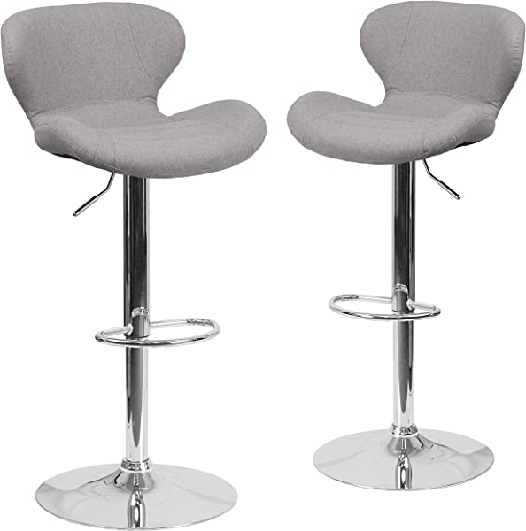 Flash Furniture 2 Pk Contemporary Gray Fabric Adjustable Height Barstool With Curved Back And Chrome Base