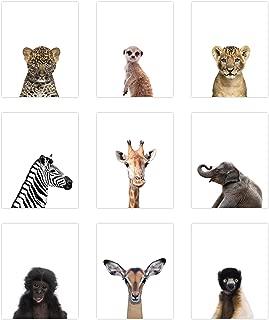 9 Pack Safari Animal Poster Prints - Cute Baby Animal Wall Art - Nursery Room Decor (8