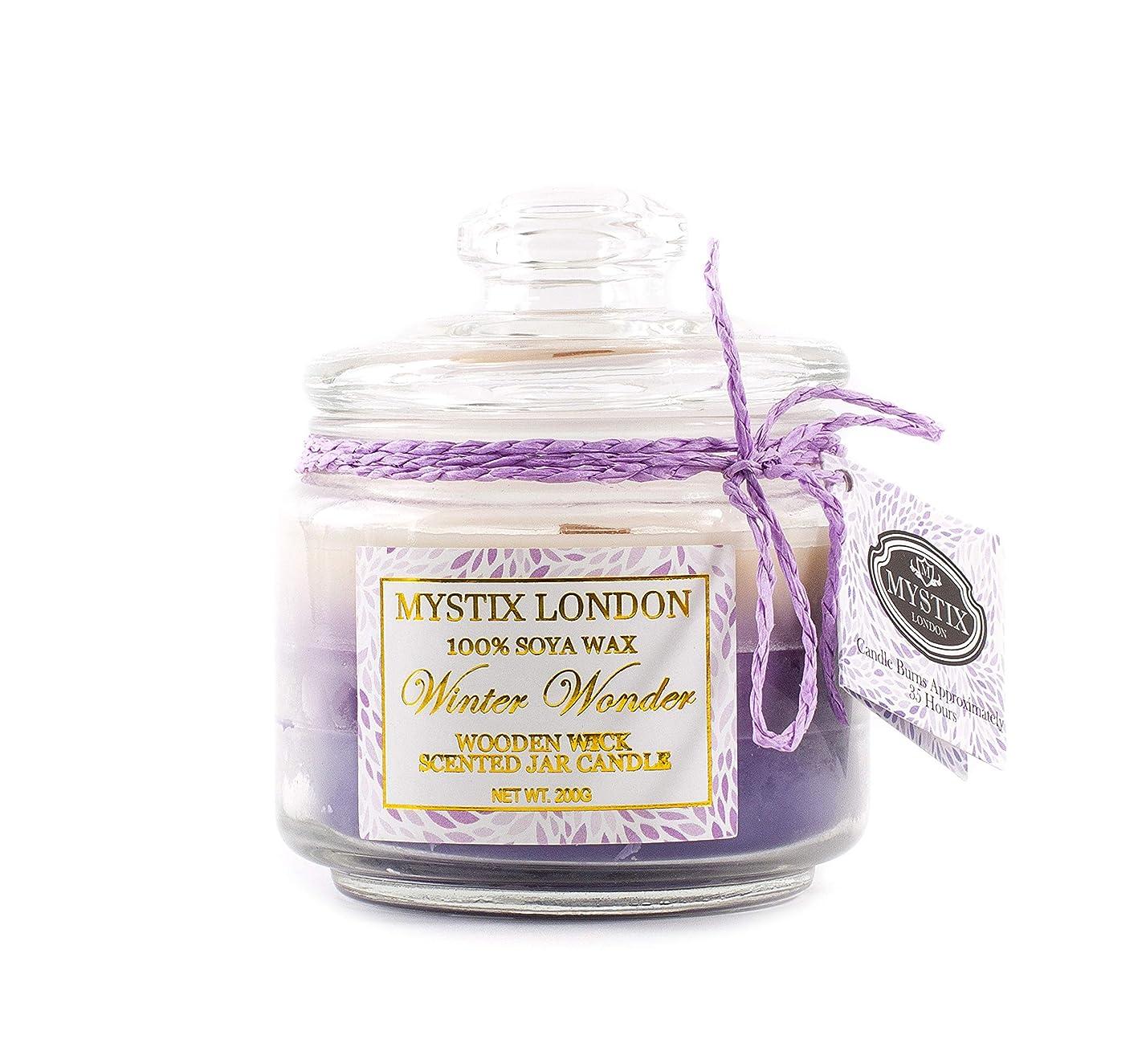備品頭痛きらめきMystix London | Winter Wonder Wooden Wick Scented Jar Candle 200g