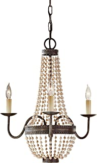 Feiss F2755/3PBR Charlotte Crystal Bead Mini Chandelier Lighting, Bronze, 3-Light (19