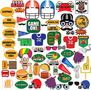 Blue Panda Football Sports Theme Photo Booth Props Party Supplies Kit for Game Day, 60 Piece Set