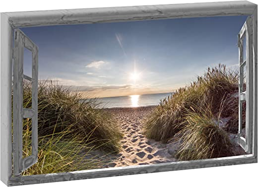 Leinwandbild Fensterblick Grau   Dünenweg im Querformat 120/80 cm   Keilrahmenbild Fotografie Fensterrahmen Wandbild XXL Format Foto Kunstdruck auf…