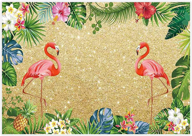 Allenjoy Max 62% OFF 7x5ft Summer Golden Flamingo Bir Max 48% OFF Backdrop Luau Tropical
