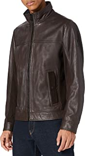 BOSS Mens Joles 1 Biker Jacket in Nappa Leather with Mixed finishes