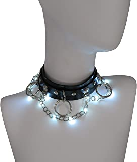 Light Up LED Black Leather 3-Ring Choker Collar Necklace for Concert Holiday Party Festival with Replaceable Batteries