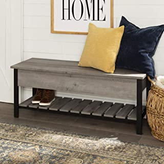 WE Furniture Modern Farmhouse Bench Hidden Storage, 48 Inch, Gray Wash